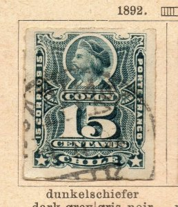 Chile 1892 Early Issue Fine Used 15c. NW-09262