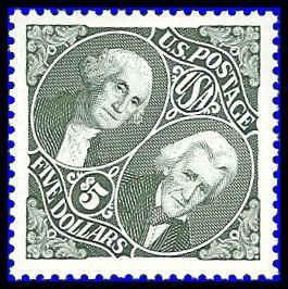 PCBstamps  US #2592 $5.00 Washington & Jackson, 1994, Used, (1)