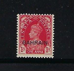 BAHRAIN SCOTT #23 1938-41 GEORGE VI INDIA OVERPRINT 1A (CARMINE) - MINT LH