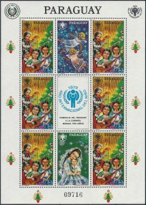 1979 Paraguay Year of the Child, Angels, Christmas, Sheet VFMNH CAT 25$