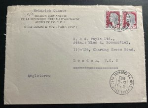 1963 Paris France Permanent Mission Of Germany NATO HQ Cover To London England