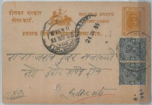 72425 - INDIA: INDORE -  POSTAL STATIONERY  CARD with MIXED FRANKING 1935