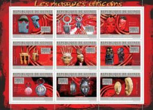 Withdrew 02-13-19-Guinea - 2010 African Masks - 9 Stamp  Sheet  7B-1146