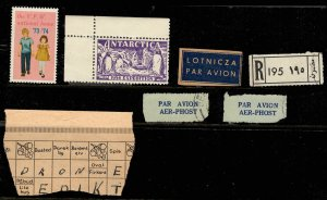 Interesting Cinderellas 1954 Antarctic Exp. VFW Nat. Home, Danish Puzzle? Labels