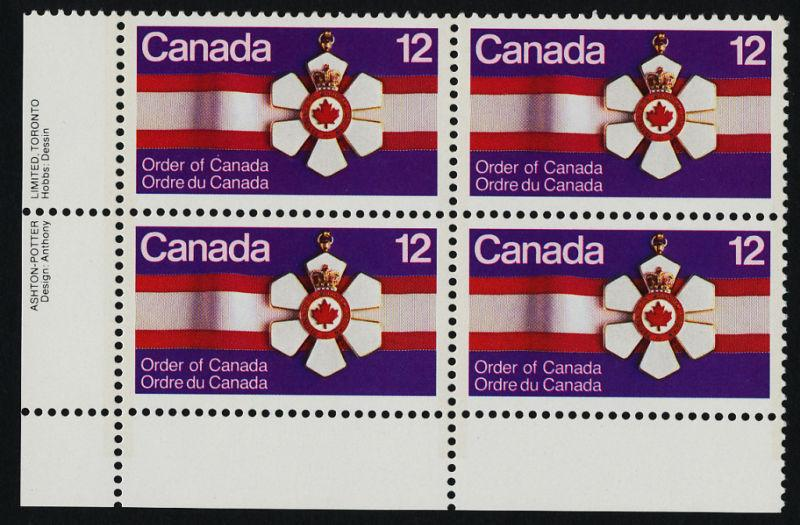 Canada 736 BL Plate Block MNH Order of Canada, Medal