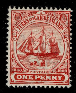 TURKS AND CAICOS ISLANDS EDVII SG111, 1d red, M MINT. Cat £20. MULT CA WMK