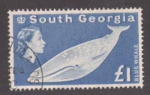 SOUTH GEORGIA: #15 used & EF Cats $55 key stamp Blue Whale!