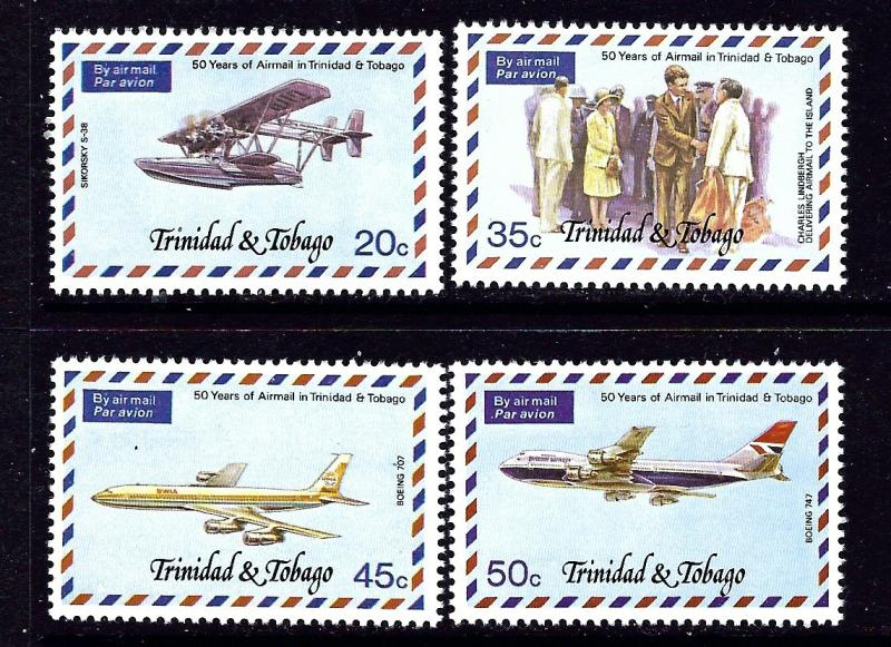 Trinidad and Tobago 268-71 MNH 1977 Anniv of Airmail Service
