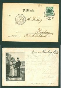 Germany. Postcard 1898. 5 Ph. Navy Officer & Wife. Adr: Hamburg