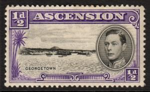 Ascension KGVI 1938 0.5d Black Violet SG38 Mint Hinged