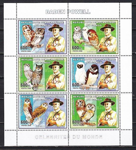 Congo, Dem., 2006 issue. Scout Baden Powell & Owls sheet of 6.