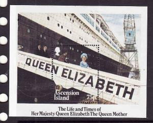 Ascension-Sc#376-unused NH sheet-Queen Mother-1985-