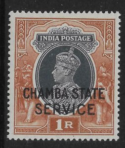 INDIA-CHAMBA SGO68 1940 1r GREY & RED-BROWN OFFICIAL MNH