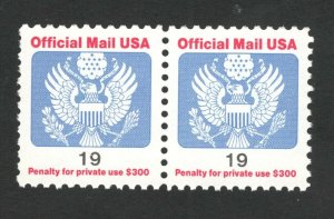O147 Official Mail 19cent US Pair Mint/nh FREE SHIPPING