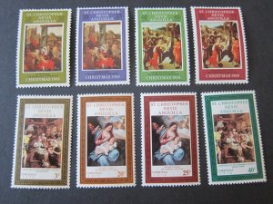 St. Kitts and Nevis 1969-70 Sc 202-5,234-7 Christmas Religion set MNH
