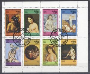 Oman 1972 Paintings, Nudes, sheetlet, used   T.064