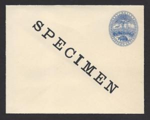 SEYCHELLES SPECIMEN 1895 15c Blue TORTOISE Postal Stationery Envelope Unused
