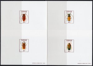 Gabon 1978 Sc#404/407 INSECTS (coleopteras) 4 DELUXE Souvenir Sheets IMPERF. MNH