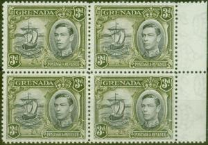 Grenada 1950 3d Black & Brown-Olive SG158ba Colon Flaw in a V.F Lightly Mtd Mint