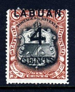 LABUAN 1899 LABUAN 4 Cents Surcharge  on 6c. North Borneo Perf 14½ SG 103 MINT