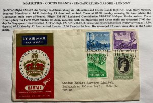 1953 Port Louis Mauritius Cover FDC To London UK Queen Elizabeth II Coronation
