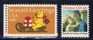 U.S. 1939-40 NH 1981 Christmas Stamps