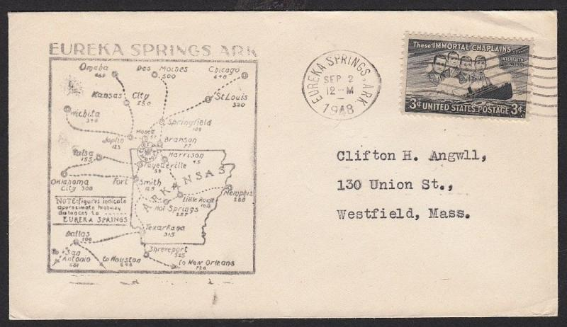 1948 Eureka Springs Arkansas Cover With Map Cachet Hipstamp