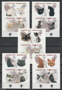 Estonia, 1999 Saaremaa Post locals. Cats on 5 IMPERF Blocks.