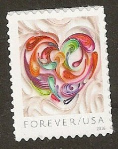 US 5036 Quilled Paper Heart forever single (1 stamp) MNH 2016