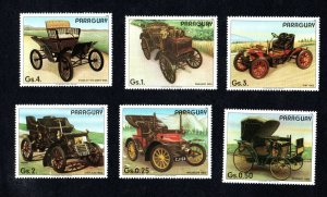 1986- Paraguay- The 100th Anniversary of Automobiles- Voiture-Compl.set 6v.MNH**