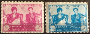 Iran 1961 Shah and Queen Farah with Crown Prince Sc# 1186-7 MH