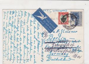 South Africa 1954 Air mail to Germany Ship + landscape Stamps Card ref R 16271