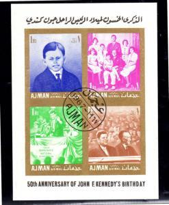 AJMAN 1967  J.F.K    MINT  VF NH  O.G  (AJ8)  CTO  S/S IMP.
