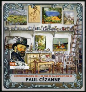 NIGER 2016 100th MEMORIAL  OF ANNIVERSARY OF PAUL CEZANNE PAINTINGS  S/S MINT NH