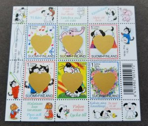 Finland Valentines Day 1998 Cartoon Cat Dot (ms) MNH *gold scratch foil *unusual