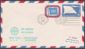 USA UN FRANKING 1961 first flight cover NY to Bridgetown Barbados...........7138