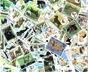 Dogs on Stamps Collection - 100 Different Stamps