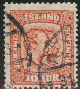 ICELAND Scott 76 used 1907 scarlet per 13 stamp CV $1.40