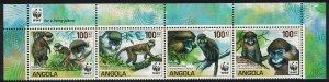 Angola WWF Monkeys Guenons Top strip of 4 with WWF Logo SG#1815-1818 SALE BELOW