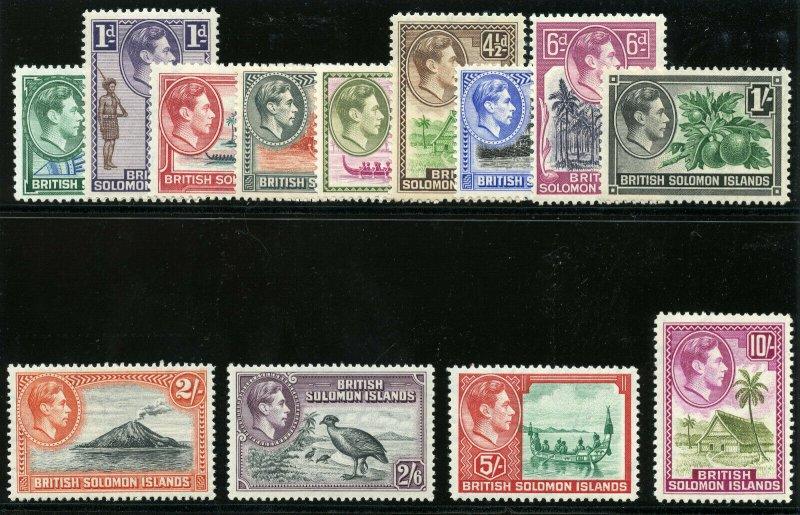 Solomon Islands 1939 KGVI set complete superb MNH. SG 60-72. Sc 67-79.