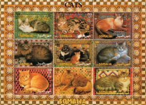Somalia 2003 Domestic Cats Sheetlet (9) Perforated MNH