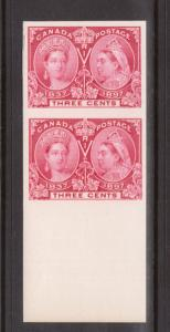 Canada #53P XF Imperf Proof Pair On Card From The Lower Margin