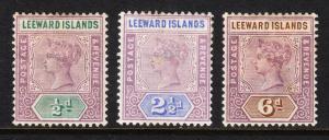LEEWARD ISLANDS — SCOTT 1//5 (SG 1//5) — 1890 QV ISSUES — MH — SCV $24.25