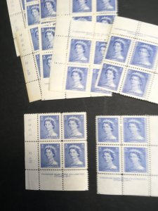 Canada - 1953 5c QE Karsh Plate Blocks mint #329 Plate 1&2 MS PL.3 LL &LR OnlyNH