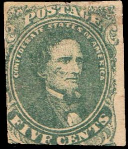 Confederate States Scott 1 Unused no gum.
