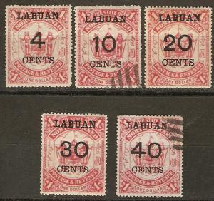 Labuan 58-62 SG 75-79 M/U VF 1895 SCV $109.50