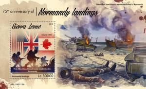 SIERRA LEONE - 2019 - Normandy Landings, 75th Anniv - Perf Souv Sheet - MNH