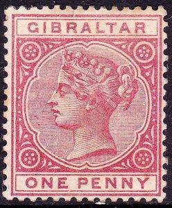GIBRALTAR 1887 QV 1d Rose SG9 MH