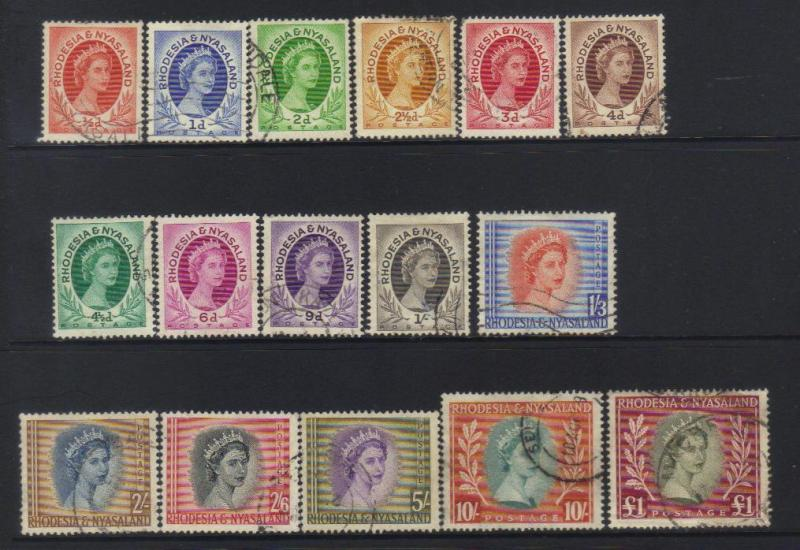 RHODESIA & NYASALAND 1954 DEFINS USED SET OF 16 CAT £60+