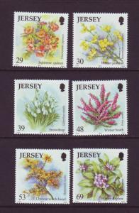 Jersey Sc 1099-04 2003 Winter Flowers stamp set mint NH